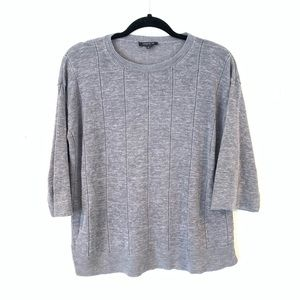 Lafayette 148 S Silk Linen Gray Windowpane Sweater